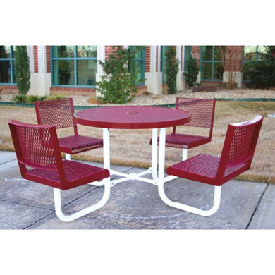 Round Thermoplastic Steel Picnic Table Regal Style