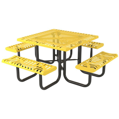 Square Thermoplastic Steel Picnic Table, Classic Style