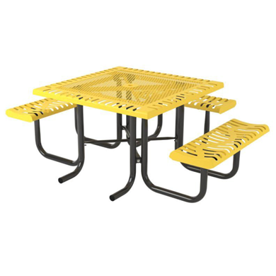 ADA Wheelchair Accessible Square Thermoplastic Steel Picnic Table Classic Style