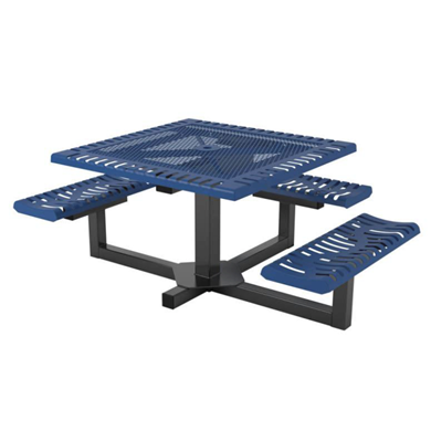 Classic Style Square Thermoplastic Steel Picnic Table