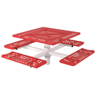 Square Thermoplastic Steel Picnic Table Classic Style