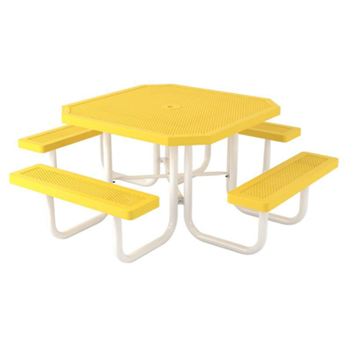 Octagonal Thermoplastic Steel Picnic Table Innovated Style