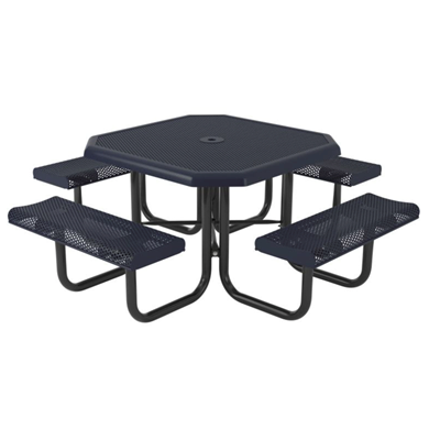 Octagonal Thermoplastic Steel Picnic Table Perforated Style