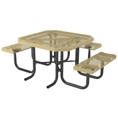 Octagonal Thermoplastic Steel Picnic Table Rolled Regal Style