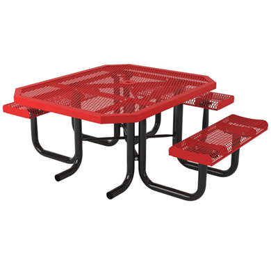 ADA Compliant Octagonal Thermoplastic Steel Picnic Table Rolled Regal Style