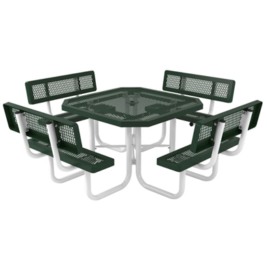 "46"" Octagonal Thermoplastic Picnic Table Regal Style with Backs"