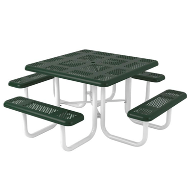 Square Thermoplastic Steel Picnic Table Perforated Style