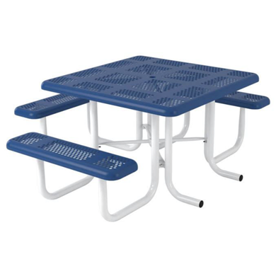 Wheelchair Accessible Square Thermoplastic Steel Picnic Table Perforated Style