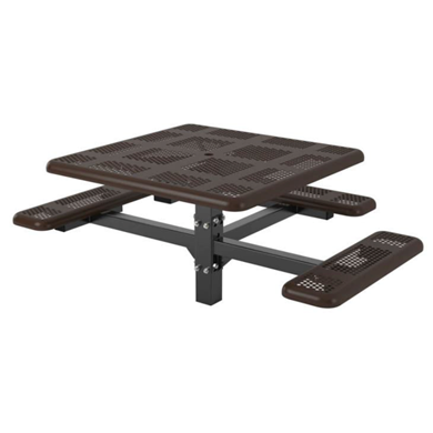 ADA Wheelchair Accessible Square Thermoplastic Steel Picnic Table, Perforated Style