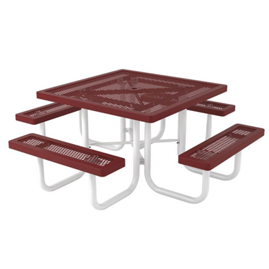 Square Thermoplastic Steel Picnic Table Regal Style