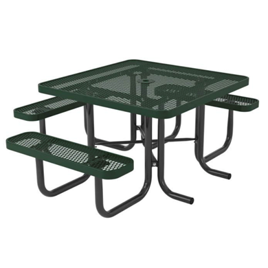 Square Thermoplastic Steel Picnic Table, Ultra Leisure Style