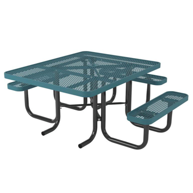 ADA Compliant Wheelchair Accessible Square Thermoplastic Steel Picnic Table