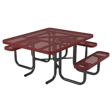 ADA Compliant Wheelchair Accessible Square Thermoplastic Steel Picnic Table Ultra Leisure Perforated Style