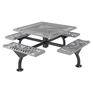 Square Thermoplastic Steel Picnic Table