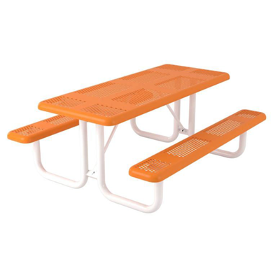 6 ft. Rectangular Thermoplastic Steel Picnic Table Perforated Style