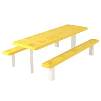 8 ft Rectangular Thermoplastic Steel Picnic Table Perforated Plastic
