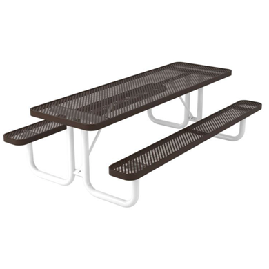 8 ft. Rectangular Thermoplastic Steel Picnic Table, Ultra Leisure Perforated Style