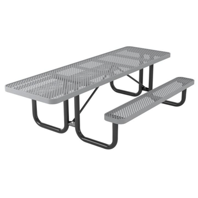 ADA Compliant Wheelchair Accessible 8 ft. Rectangular Thermoplastic Steel Picnic Table, Ultra Leisure Perforated Style