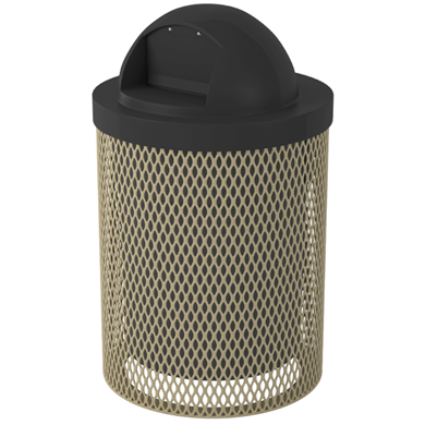 32 Gallon Plastic Coated Expanded Metal Trash Receptacle with Dome Lid