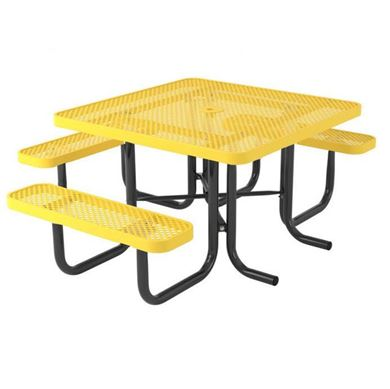 Square Thermoplastic Steel Picnic Table, Ultra Leisure Perforated Style