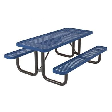 Rectangular Thermoplastic Steel Picnic Table, Ultra Leisure Perforated Style