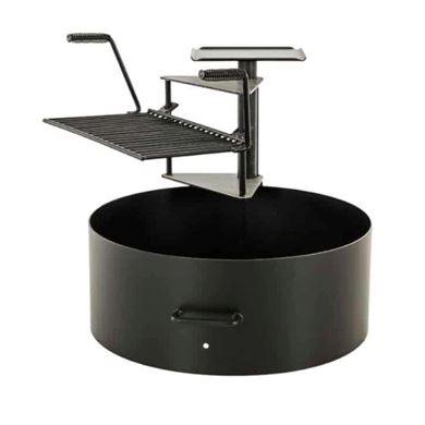 """20"""" Ultimate Cooking Fire Ring with Swinging Grate and 300 Sq In Grilling Surface - 100 lbs."""