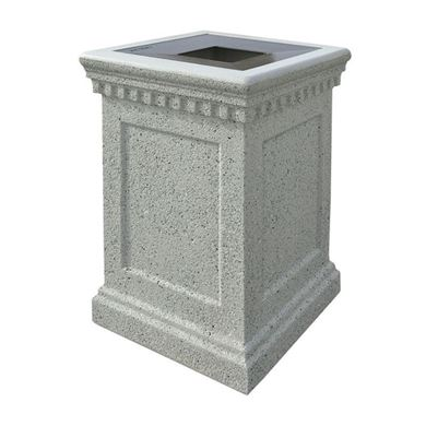 24-Gallon Concrete Trash Receptacle Colonial with Aluminum Top - 640 lbs.