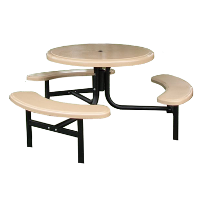 """Cafe 6 42"""" Round Fiberglass Picnic table with Powder Coated Steel Frame"""